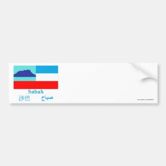 Bandeira de Sabah com nome Adesivo Para Carro