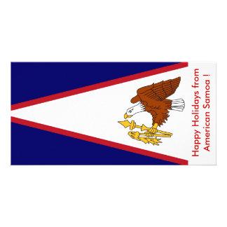 Bandeira de Samoa Americanas, boas festas dos EUA Cartão Com Foto