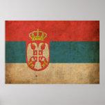 Bandeira de Serbia do vintage Posteres