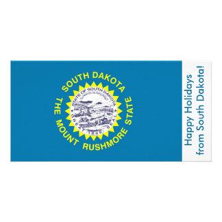 Bandeira de South Dakota boas festas dos EUA Cartão Com Foto Personalizado