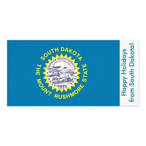 Bandeira de South Dakota, boas festas dos EUA Cartão Com Foto Personalizado