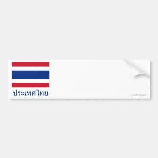 Bandeira de Tailândia com nome em tailandês Adesivo Para Carro