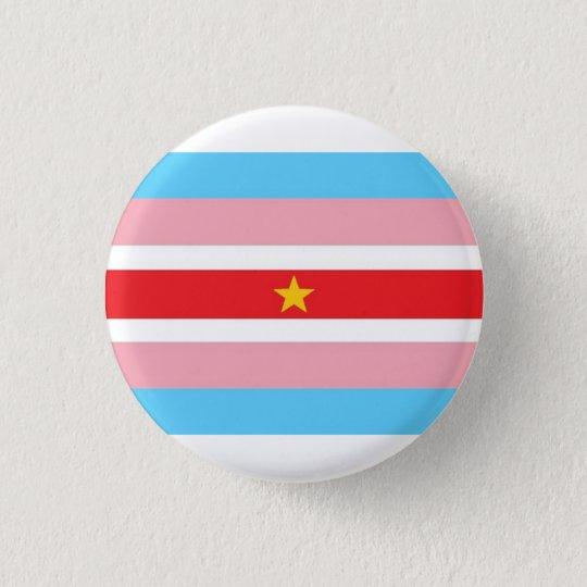 Bandeira de Trans* com bandeira vermelha, estrela Bóton Redondo 2.54cm