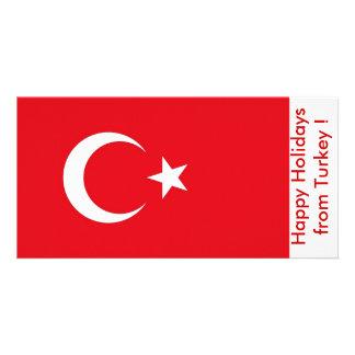 Bandeira de Turquia, boas festas de Turquia Cartão Com Foto
