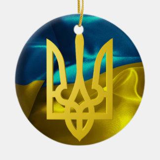 Bandeira de Ucrânia 3D e enfeites de natal de