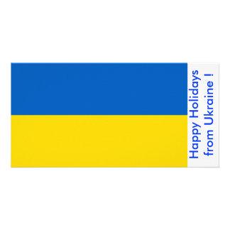 Bandeira de Ucrânia boas festas de Ucrânia Cartão Com Foto Personalizado