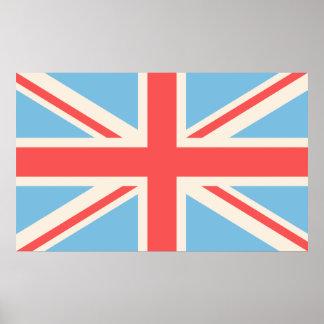 Bandeira de união/creme design de Jack, luz - azul Posteres