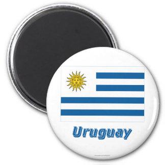 Bandeira de Uruguai com nome Ímã Redondo 5.08cm
