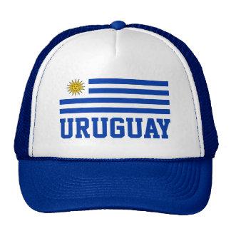 Bandeira de Uruguai com texto azul customizável Boné