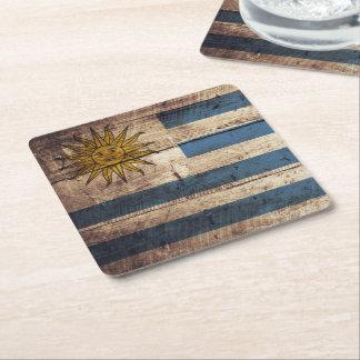 Bandeira de Uruguai na grão de madeira velha Porta-copo Quadrado