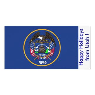 Bandeira de Utá, boas festas dos EUA Cartão Com Foto