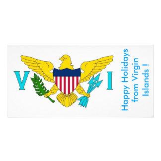 Bandeira de Virgin Islands, boas festas dos EUA Cartão Com Foto