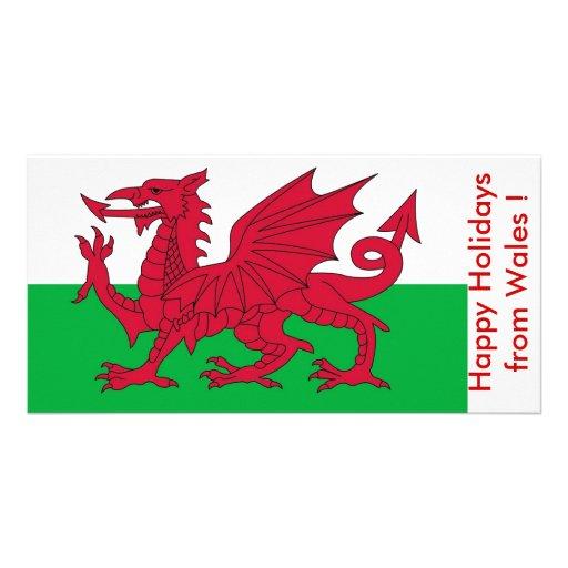 Bandeira de Wales, boas festas do Reino Unido Cartoes Com Fotos