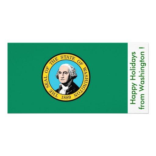 Bandeira de Washington, boas festas dos EUA Cartão Com Foto Personalizado