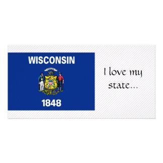 Bandeira de Wisconsin Cartões Com Fotos Personalizados