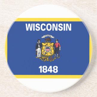 Bandeira de Wisconsin Porta Copos De Arenito