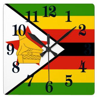 Bandeira de Zimbabwe África Relógio Quadrado