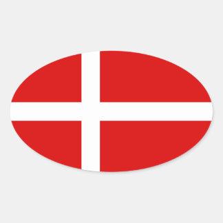 Bandeira dinamarquesa da etiqueta do oval de