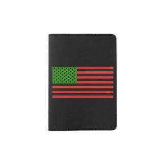 Bandeira do afro-americano - preto e verde capa para passaporte
