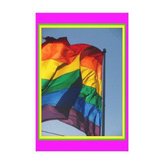 Bandeira do arco-íris de GLBTQ, gay da bandera do  Impressão De Canvas Envolvida
