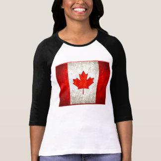 Bandeira do canadense do Raglan T das mulheres Camisetas