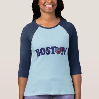 Bandeira do coração de Boston EUA Camisetas