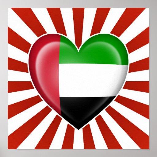 Bandeira do coração de United Arab Emirates com ex Poster