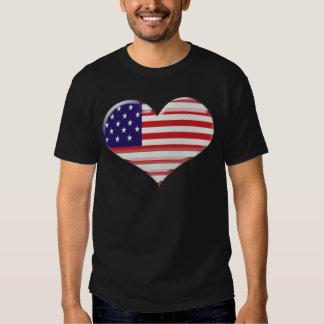 Bandeira do coração dos EUA Camisetas