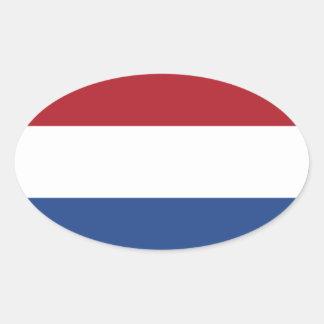 Bandeira do dos Países Baixos Adesivo Oval