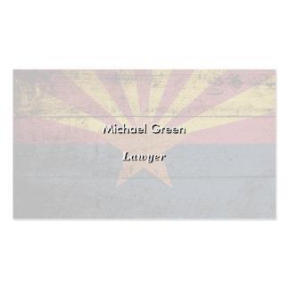 Bandeira do estado da arizona na grão de madeira modelo cartões de visitas