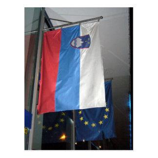 bandeira do eu de slovenia cartão postal