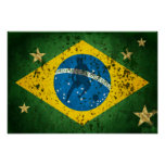 Bandeira do Grunge de Brasil para esportes do fute Poster
