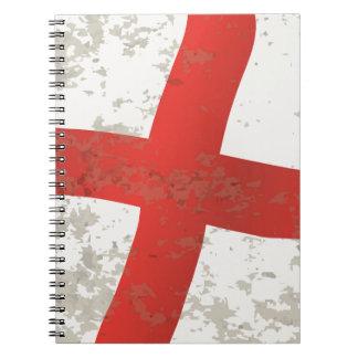 Bandeira do Grunge de Inglaterra e de St George Caderno Espiral