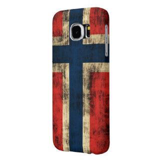 Bandeira do Grunge do vintage de Noruega Capas Samsung Galaxy S6