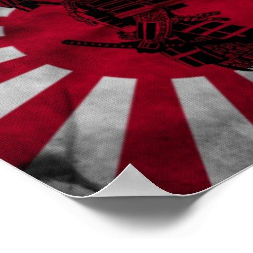 Bandeira do japonês do samurai posteres