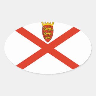 Bandeira do jérsei (Reino Unido) Adesivo Oval