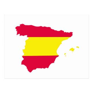 Bandeira do mapa da espanha cartões postais