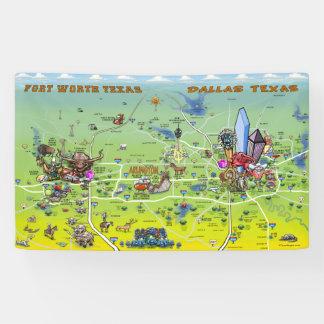Bandeira do mapa dos desenhos animados de Dallas
