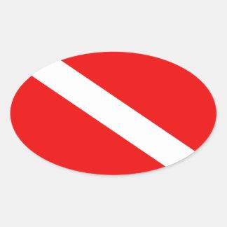 Bandeira do mergulhador adesivo oval