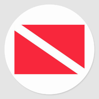 Bandeira do MERGULHADOR - customizável Adesivo Em Formato Redondo
