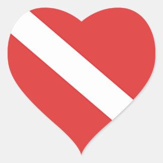 Bandeira do mergulho autónomo - branco vermelho do adesivo coração