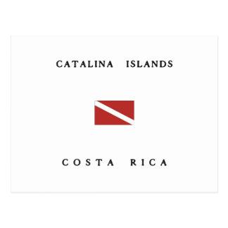 Bandeira do mergulho do mergulhador de Costa Rica Cartão Postal