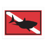 Bandeira do mergulho do tubarão cartao postal