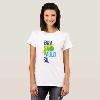 Bandeira do na moda de Brasil São Paulo Camiseta