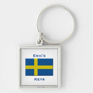 Bandeira do nome feito sob encomenda sueco da chaveiro