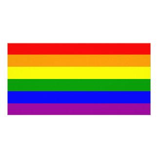 Bandeira do orgulho gay/bandeira do arco-íris cartão com foto