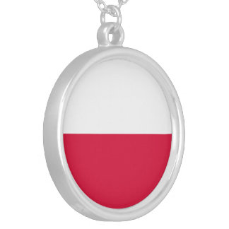 Bandeira do Polônia Colar Banhado A Prata