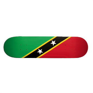 Bandeira do santo Kitts e da plataforma do skate