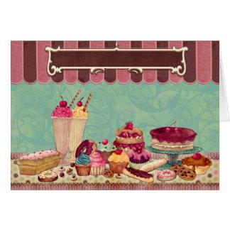 Bandeira do sinal do partido do bolo do cupcake cartão