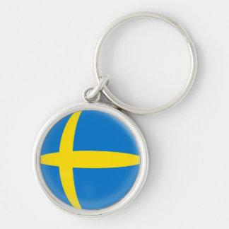 Bandeira do sueco da suecia do Keyring Chaveiro Redondo Na Cor Prata